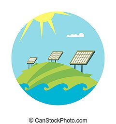Clean energy banner. Sun power generation