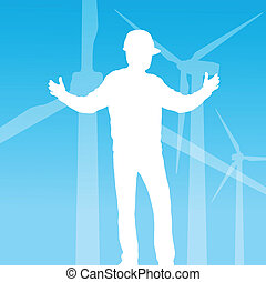 Clean energy concept with wind generators vector