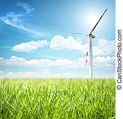 Clean energy concept with wind turbine
