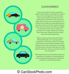 clean energy infographic with flat car icon
