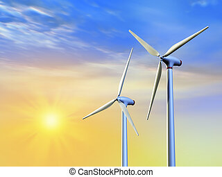 Clean energy - Renewable energy from sun and wind. Digital...