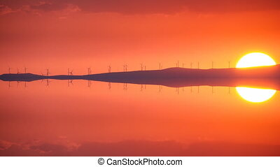 Clean Energy with wind turbines at sunset, time lapse ...