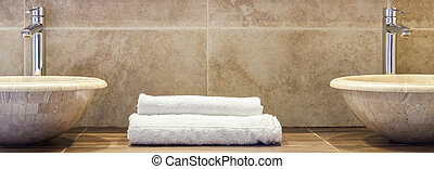 Clean folded towels - White clean folded towels on marble...