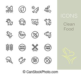 Clean Food Outline Icons.