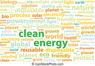 Clean Friendly Environment Energy Word Cloud Concept Vector Illustration