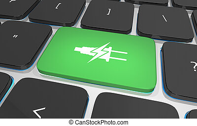 Clean Green Electricity Energy Power Charging Computer Keyboard Button 3d Illustration