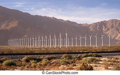 Clean Green Energy Wind Turbines Alternative Desert Power -...
