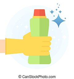 clean hand with cleanser - Hand in rubber glove holding...