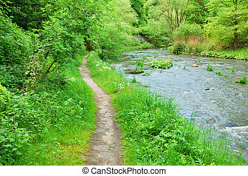 Clean highland river with green banks and narrow trail