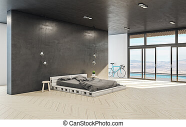 Clean hipster bedroom interior