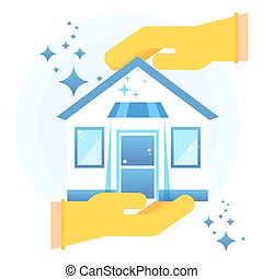 Hand in rubber glove holding clean shining house. Flat vector cartoon illustration. Objects isolated on a white background.