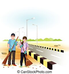 Clean India Mission - easy to edit vector illustration of...