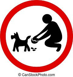 clean it up - Clean up your dog mess sign isolated on white.
