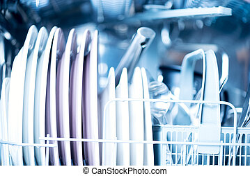 Clean kitchenware in dishwasher horizontal - Kitchenware in...