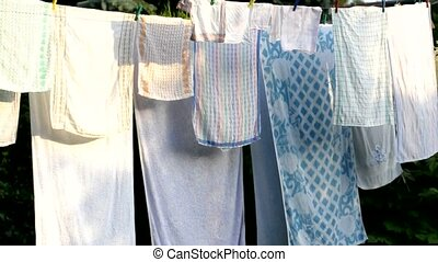 Clean laundry - Cleaned laundry hanged on the peg.