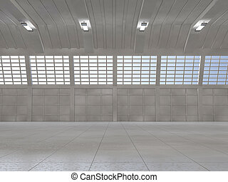 Clean light warehouse background. 3D
