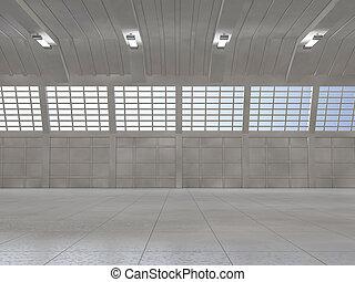Clean light warehouse background. 3D