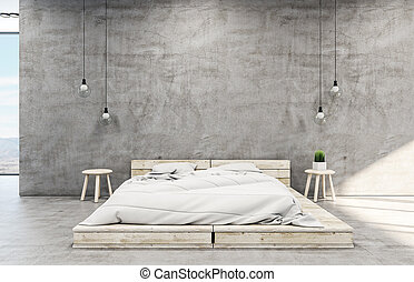 Clean loft style bedroom interior with bed