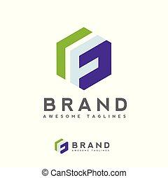 Letter F logo hexagon design