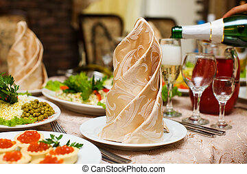 Napkin - Clean Napkin on empty plate before party begins