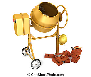 Clean new yellow concrete mixer with helmet, trowel and few bricks, isolated on white background