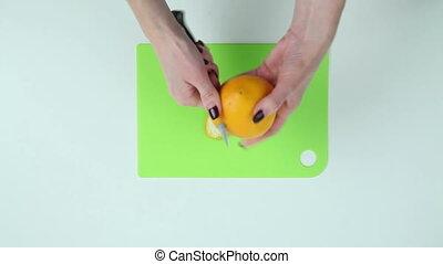 Clean orange peel on the table