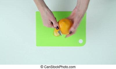 Clean orange peel on the table - Clean the orange peel on a...