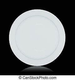 Clean plate isolated on black with reflection