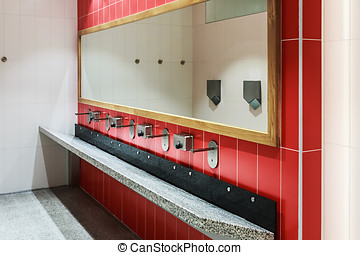 clean public washrooms interior