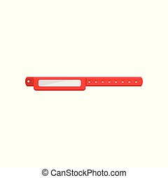 Clean red bracelet, template for security access, control or identification at events vector Illustration on a white background