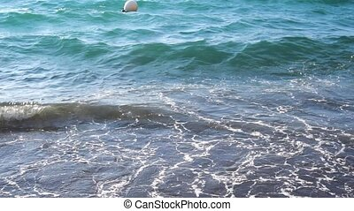 Clean sea water waves at amalfitana beach, Italy, slow...
