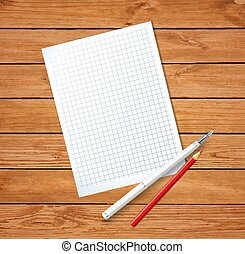 Clean sheet blank with fountain pen and red pencil on wooden background.