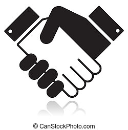 Clean shiny icon with shaking hands. Business agreement, meeting, job offer, signing contract, deal concept.
