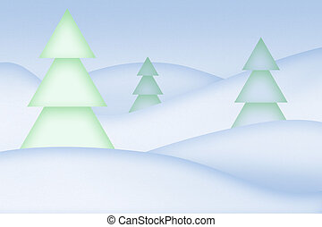 Clean simple snowy abstract background. Trees on the snowdrifts.