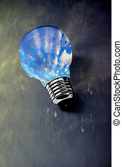 clean sky lightbulb on polluted scene, concept of ecology