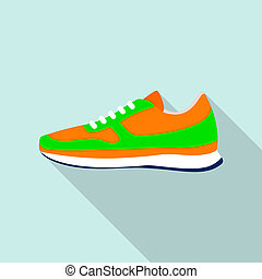 Clean sneakers icon, flat style