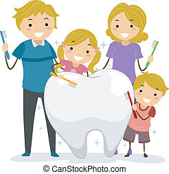 Clean Teeth Family - Illustration of Stickman Family holding...