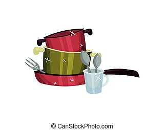 Clean the pots in the pan. Vector illustration on white background.