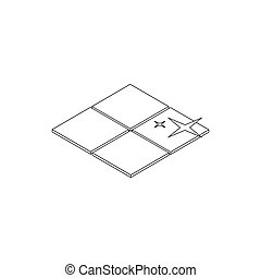 Clean tile icon, isometric 3d style