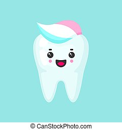 Clean tooth with a toothpaste with emotional face, cute colorful vector icon illustration