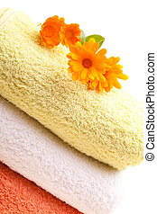 Clean Towels With Calendula Flowers