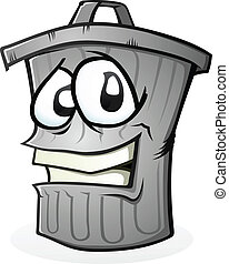 Clean Trash Can Cartoon Character - A smiling trash can...