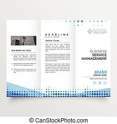 clean tri-fold brochure design with abstract blue effect