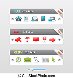 Clean vector banners with color icons