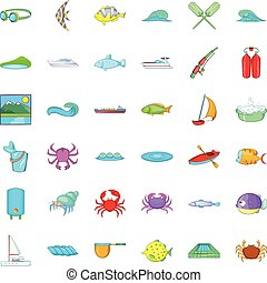 Clean water icons set, cartoon style