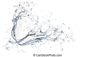 Clean water splash - on white background