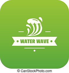Clean wave water icon green vector