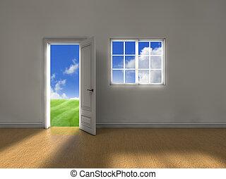 Clean weather door - Room with door and window and clean ...
