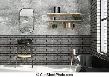 Clean white brick bathroom
