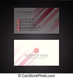 Clean White Business Card with Abstract Red Pattern